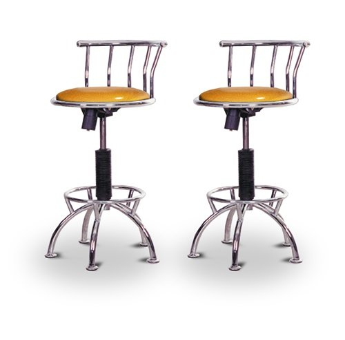 "2 24""-29"" Glitter Gold Seat Chrome Adjustable Specialty / Custom Barstools Set front-5552"