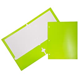 JAM Paper® Two Pocket Glossy 3 Hole Punched Presentation Folder - Lime Green - 6 per pack