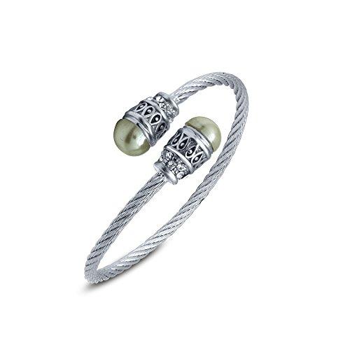 Mahi Crystal Twin Pearl Rhodium Plated Kada Bracelet for Women BA1100771R