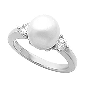 18K White Gold Akoya Cultured White Pearl and Diamond Ring - 8.00mm Size 6.0 -- LIFETIME WARRANTY