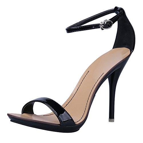 Ochenta scarpa classica da ballo per donna, con tacco stiletto alto e punta aperta, cinturino alla caviglia , Nero (nero), Taglia 37 EU