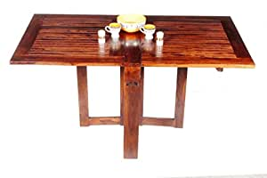 Home And Bazaar Handicraft Sheesham Wood Hand Made Folding Dining Table Strip Design