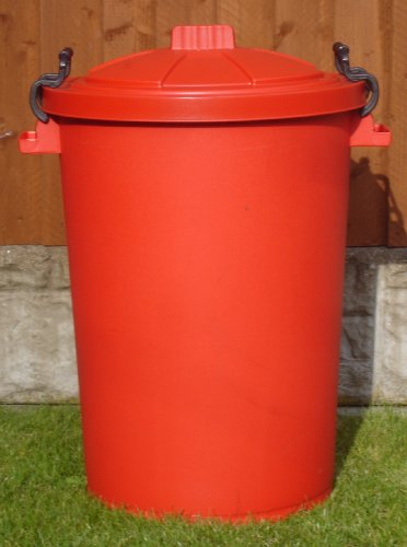 80/85 Litre Red Dustbin/Bin/Refuse Bin With Lockable Handles. (made in the uk)
