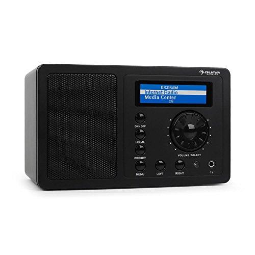 auna IR-130 Radio internet WiFi ultra compact avec surface soft-touch (écran LCD couleur, sortie casque, sleep timer, réveil) - noir