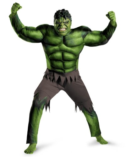Disguise Men's The Avengers Hulk Muscle Adult Plus Costume