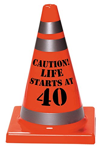 "Amscan Sleek Traffic Cone Designed Hat with ""Caution Life Starts At 40"" Print, Orange, 6 1/2"" x 4 1/2"""