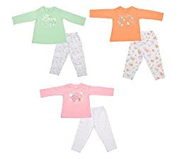 Zero Girls' Clothing Set - 3 Vests and 3 Pants (421_2_12-18 Months, Multi-Coloured, 12-18 Months)
