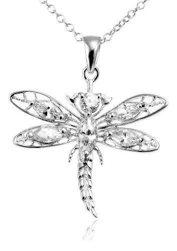 Sterling Silver Cubic Zirconia Dragonfly Pendant, 18 inch chain