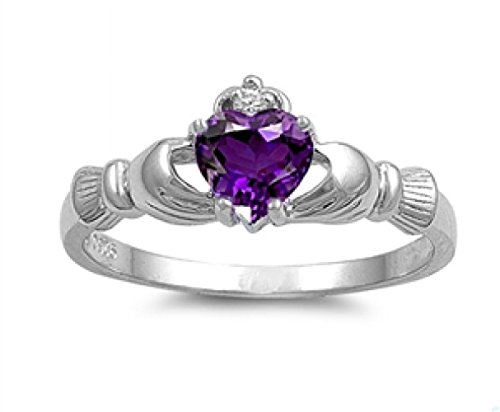 Sterling Silver Claddagh Ring - Amethyst Color Cubic Zirconia