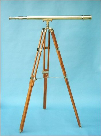 44-Inch Brass Harbormaster Nautical Floor Stand Telescope On Teak Tripod