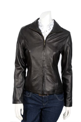 Ladies Biker Style Leather Jacket 1503 Black Womens Classic Fitted Leather Jacket (12)