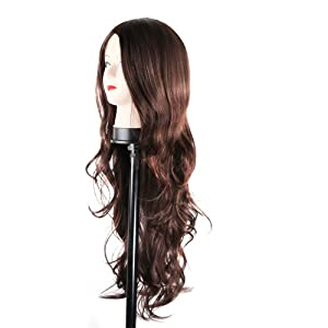 Charming Wavy Hair Synthetic Black Dark Brown Light Brown Wig Women's Party Full Wigs Curly Long Ladies Sexy Women's Party Cosplay Wigs (Dark Brown) by DBPOWER
