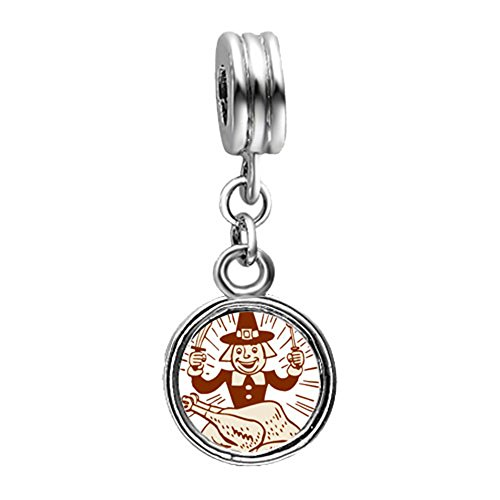 Loyallove Thanksgiving Turkey Man With Fork Knife Photo Flower Dangle European Charm Bead