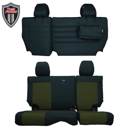 Trek Armor Jeep Seat Covers Black On Olive Rear Bench