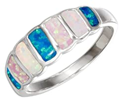 Sterling Silver Lab Created Blue and White Opal Rectangles Ring