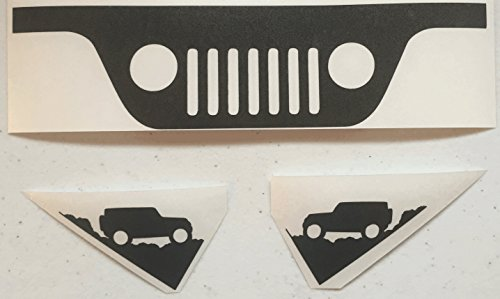 JEEP WRANGLER JK Windshield Replacement Decals – Grill and Corner – Black
