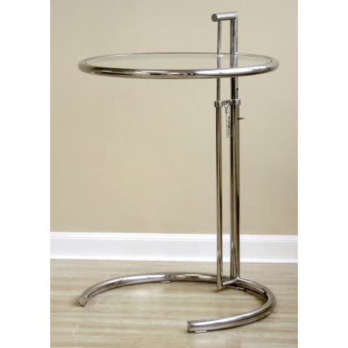 home inside classic design eileen gray stainless steel accent side table. Black Bedroom Furniture Sets. Home Design Ideas