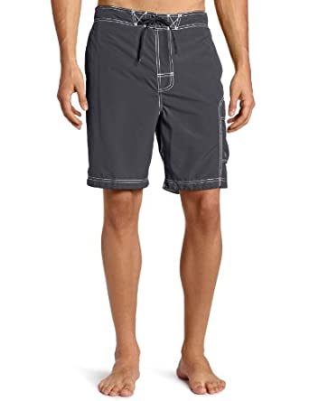 Free Country Men's Solid Boardshort, Dark Grey, Medium