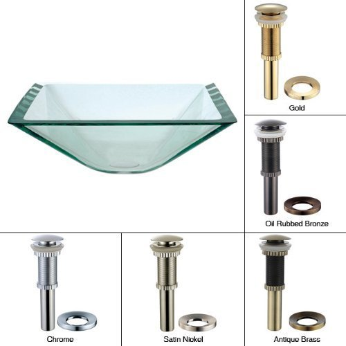 Kraus Gvs-901-19mm-orb Aquamarine Square Clear Glass Vessel Bathroom Sink With Pu-mr Oil Rubbed Bronze By Kraus