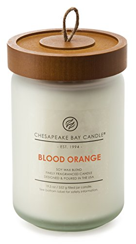 Chesapeake Bay Candle Heritage Collection Large Glass Jar Candle with Lid, Blood Orange