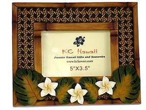 Hawaiian Photo Frame Vintage Plumeria 3.5 x 5 in.