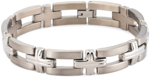 Brushed and Polished Titanium 12mm Bracelet, 8″