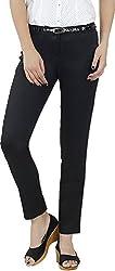 Fashion Stylus Women's Slim Trousers (FT-1010_28, Black, 28)