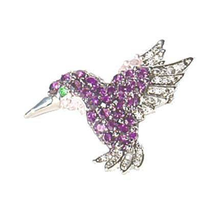 Petite Hummingbird Pin Brooch Swarovski Crystals Purple Jewelry Violet White ...