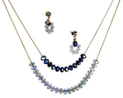 Gold-Tone Jewelry Set, Montana Blue Beaded Necklace Drop Earrings