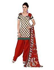 Prafful Beige-Red Cotton Printed Salwar Suit Dupatta Material