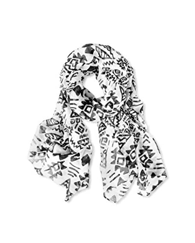 Printed Village Women's Tribal Print Scarf, White, Black