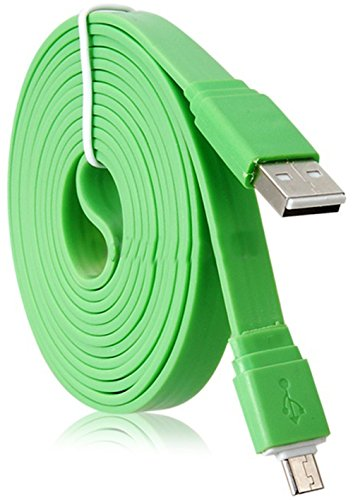 """Mylife Vintage Green {Solid Flat Noodle Design} 6' Feet (1.8 Meter) Quick Charge Usb 2.0 Micro Usb To Usb Data Sync Cord For Phones, Cameras, Tablets And Gps Devices """"See Compatibility"""" (Durable Rubber Coat)"""