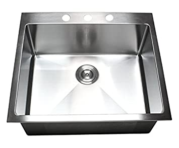 25 Inch Topmount / Drop In Stainless Steel Single Bowl Kitchen Sink 15mm Radius Design 16 Gauge