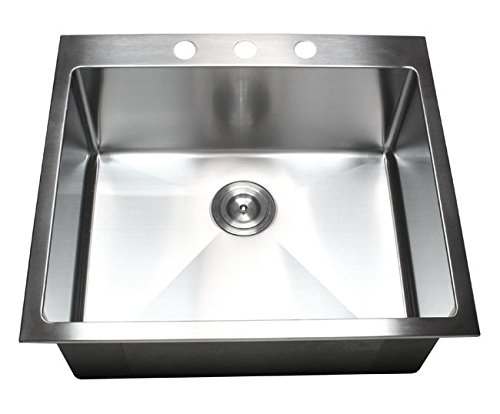 25 Inch Top-mount / Drop-in Stainless Steel Single Bowl Kitchen Sink 15 mm Radius Design 16 Gauge