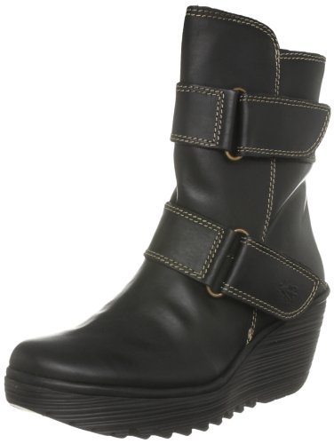 Fly London Women's Yaki Leather Black Platforms Boots P500227004 4 UK
