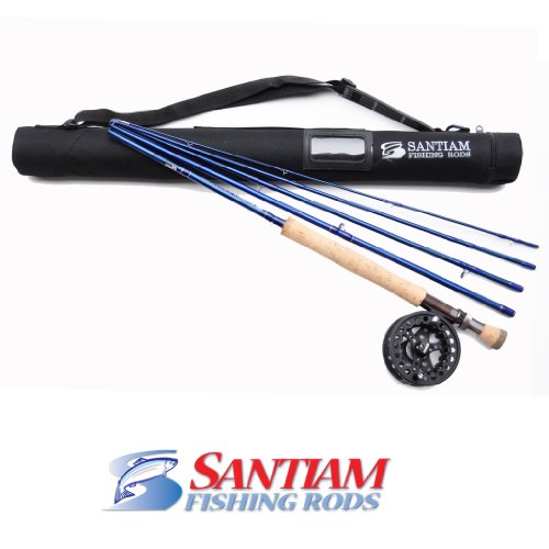 Santiam Fishing Rods Travel Fly Rod 5 Piece 9' 7/8 Line WT Graphite Fly Rod/Reel and Case Combo