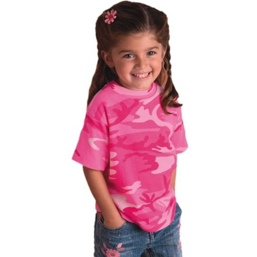 Code V Toddler Camouflage Short Sleeve Shirt in Pink Woodland - 4T