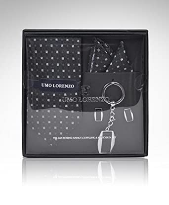 Men's Black Geometric Tie, Hanky, Cufflink, Keychain Set With gift box TCK12