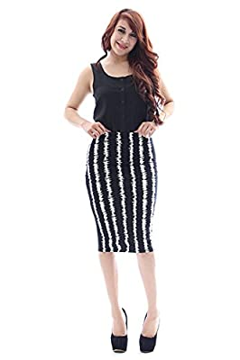 Black White Retro Striped High Waist Fitted Pencil Skirt