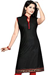 Karan Kurtis Womens Cotton Aline Kurta (Kurtis-0230-Xl_Black)