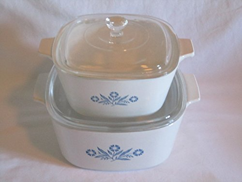 4 PIECE SET - Vintage Corning Ware Cornflower Blue Covered Casserole Baking Dishes (Corning Ware Cornflower Blue compare prices)