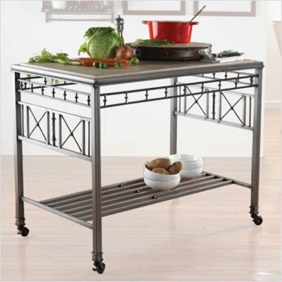 Classic Rolling Kitchen Island Top Option: Copperstone Top, Finish: Crackle White (Indoor Use)