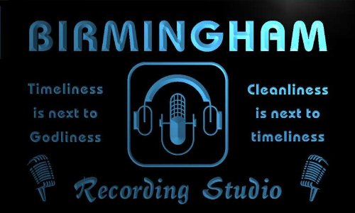 Qm2147-B Birmingham Recording Studio Microphone On The Air Bar Neon Beer Sign