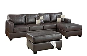 Bobkona Wilder 3-Piece Bonded Leather Reversible Sectional Sofa with Matching Ottoman, Dark Brown