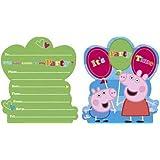 6 biglietti d'invito Peppa Pig per feste a tema