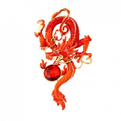 Butler Wilson Damen-Klippohrringe &-Brosche Chinesischer Drache, Rot günstig
