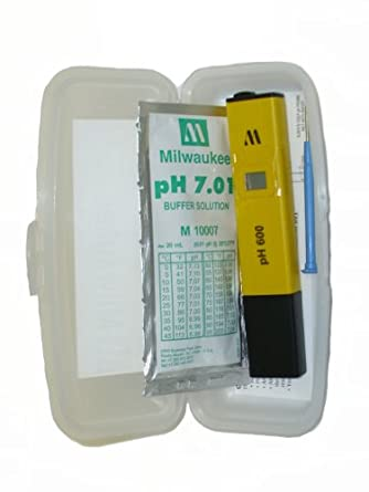 Milwaukee pH600-AQ LED Economical Pocket pH Tester with 1 Point Manual Calibration, 0.0 to 14.0 pH, +/-0.1 pH Accuracy, 0.1 pH Resolution