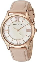 Anne Klein Women's AK/1010RGLP Rose Gold-Tone Watch with Swarovski Crystals and Leather Band