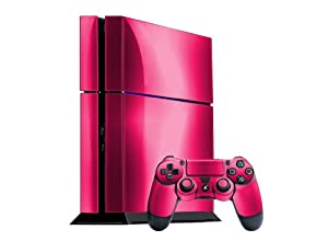 Sony PlayStation 4 Skin (PS4) - - PINK CHROME MIRROR system skins faceplate decal mod
