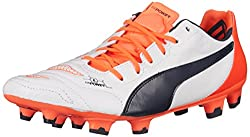 PUMA Mens Evopower 1.2 Leather FG Soccer Shoe, White/Total Eclipse/Lava Blast, 7 M US